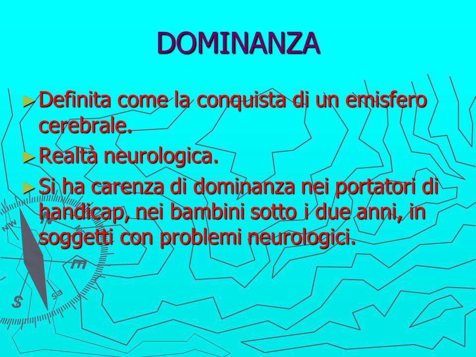 DOMINANZA Definita come la conquista di un emisfero cerebrale.