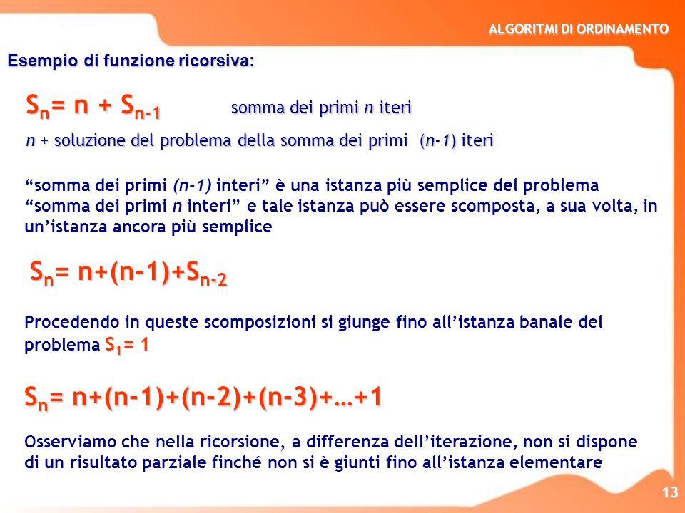 Sn= n + Sn-1 somma dei primi n iteri