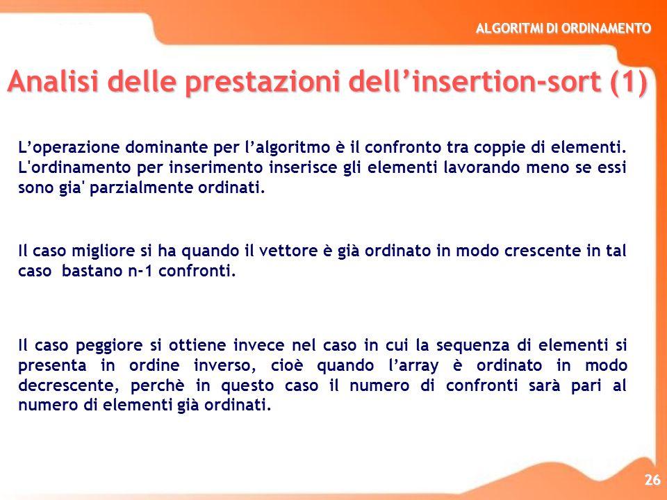 Analisi delle prestazioni dell'insertion-sort (1)