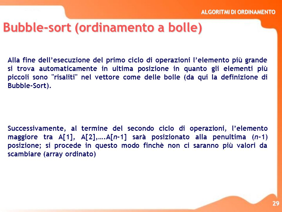 Bubble-sort (ordinamento a bolle)