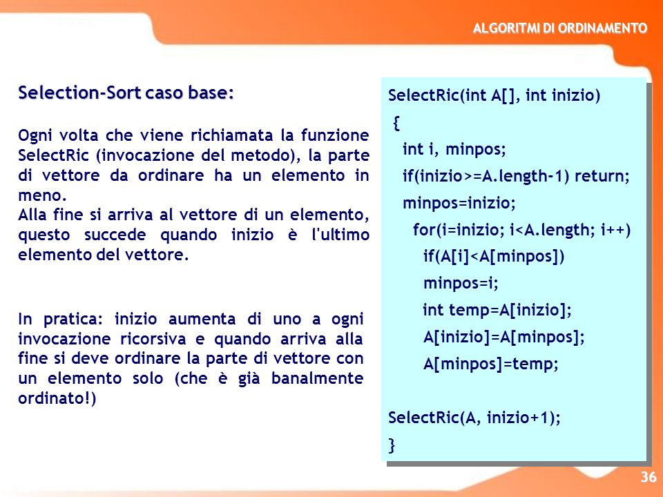 Selection-Sort caso base: