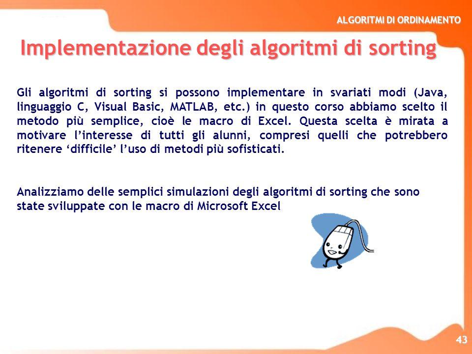 Implementazione degli algoritmi di sorting