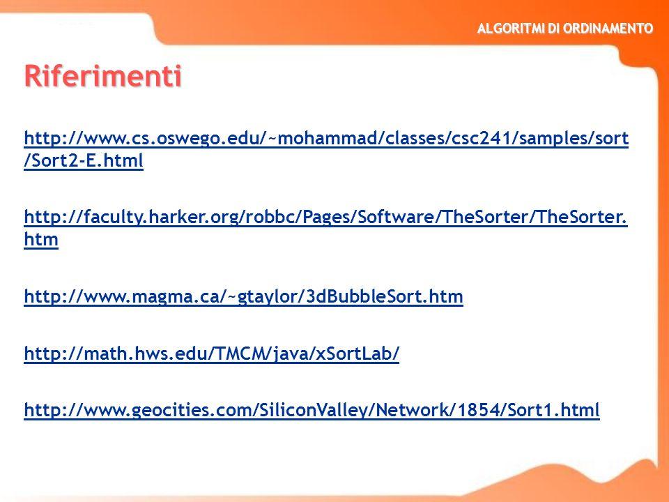 Riferimentihttp://www.cs.oswego.edu/~mohammad/classes/csc241/samples/sort/Sort2-E.html.