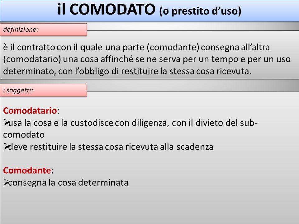 il COMODATO (o prestito d'uso)
