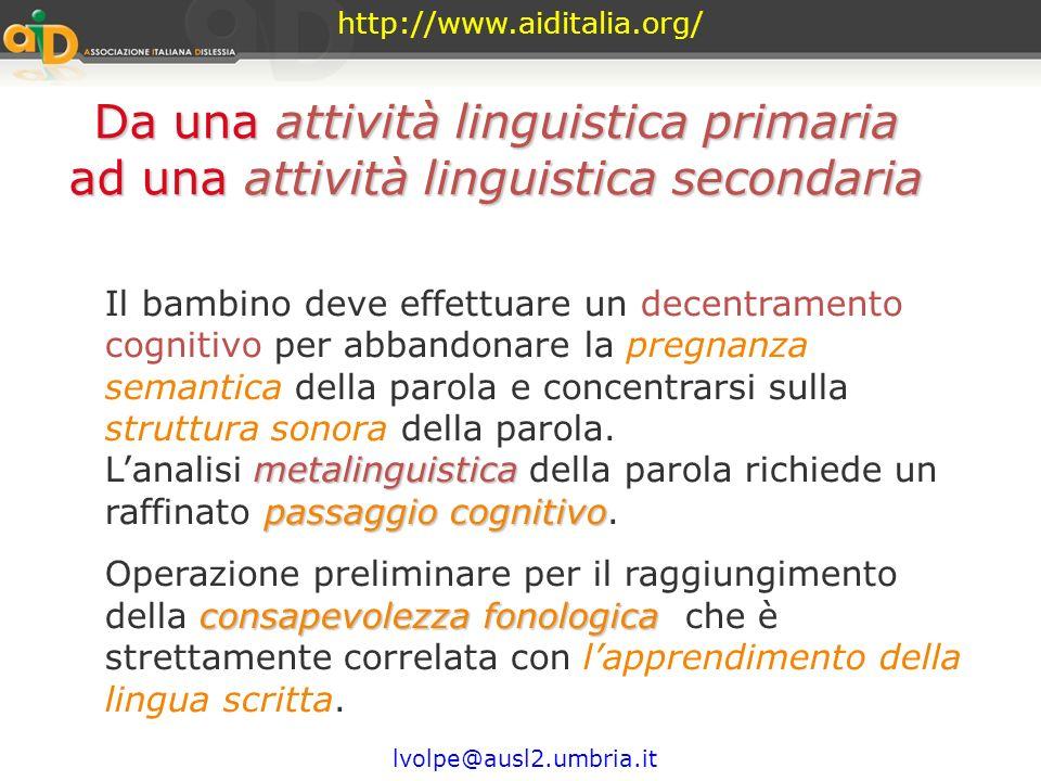 http://www.aiditalia.org/ Da una attività linguistica primaria ad una attività linguistica secondaria.