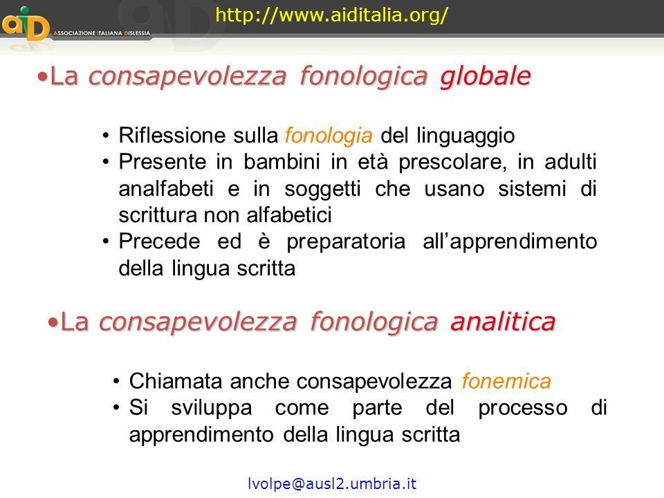 La consapevolezza fonologica globale