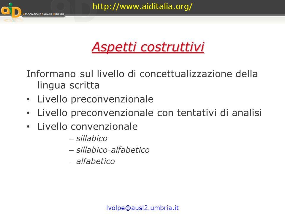 http://www.aiditalia.org/ Aspetti costruttivi. Informano sul livello di concettualizzazione della lingua scritta.