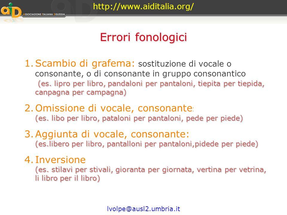 http://www.aiditalia.org/ Errori fonologici.
