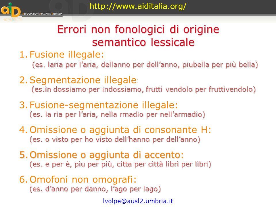 Errori non fonologici di origine semantico lessicale