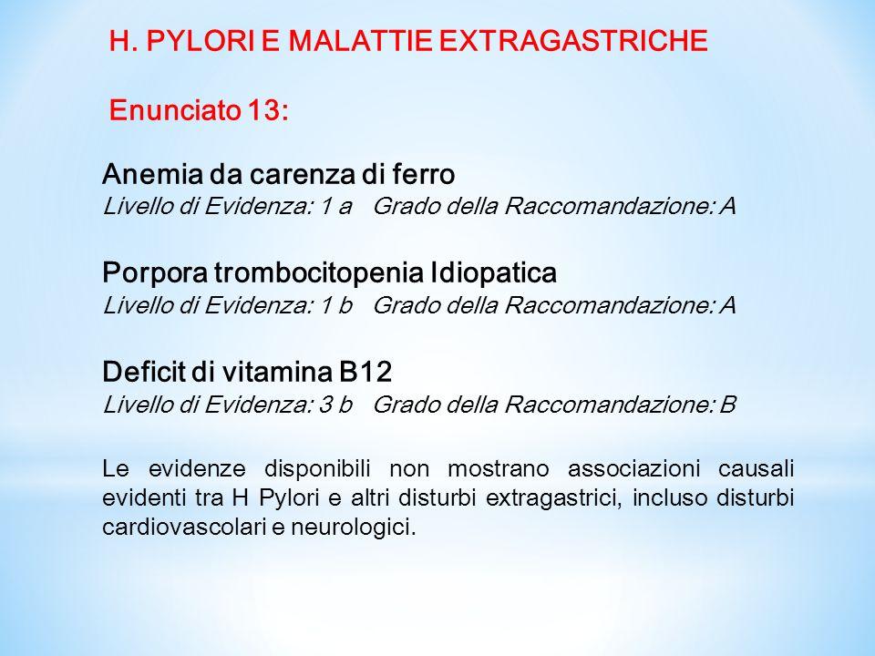 H. PYLORI E MALATTIE EXTRAGASTRICHE Enunciato 13: