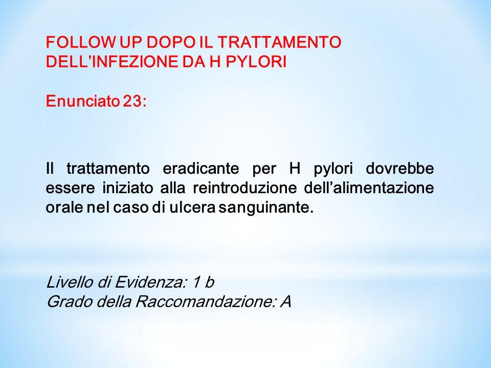 FOLLOW UP DOPO IL TRATTAMENTO DELL'INFEZIONE DA H PYLORI