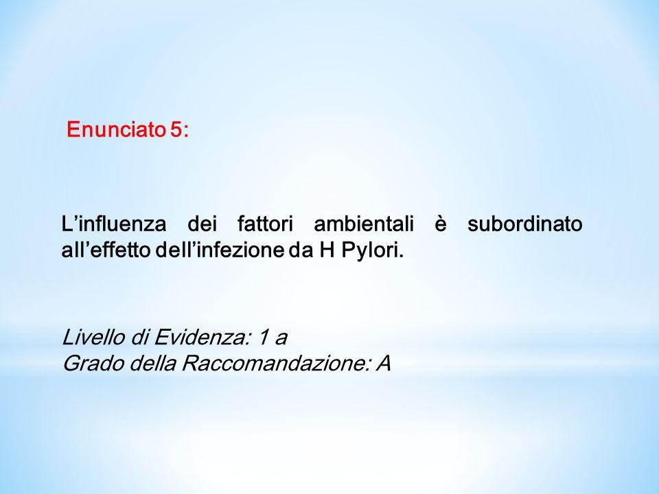 Enunciato 5:L'influenza dei fattori ambientali è subordinato all'effetto dell'infezione da H Pylori.