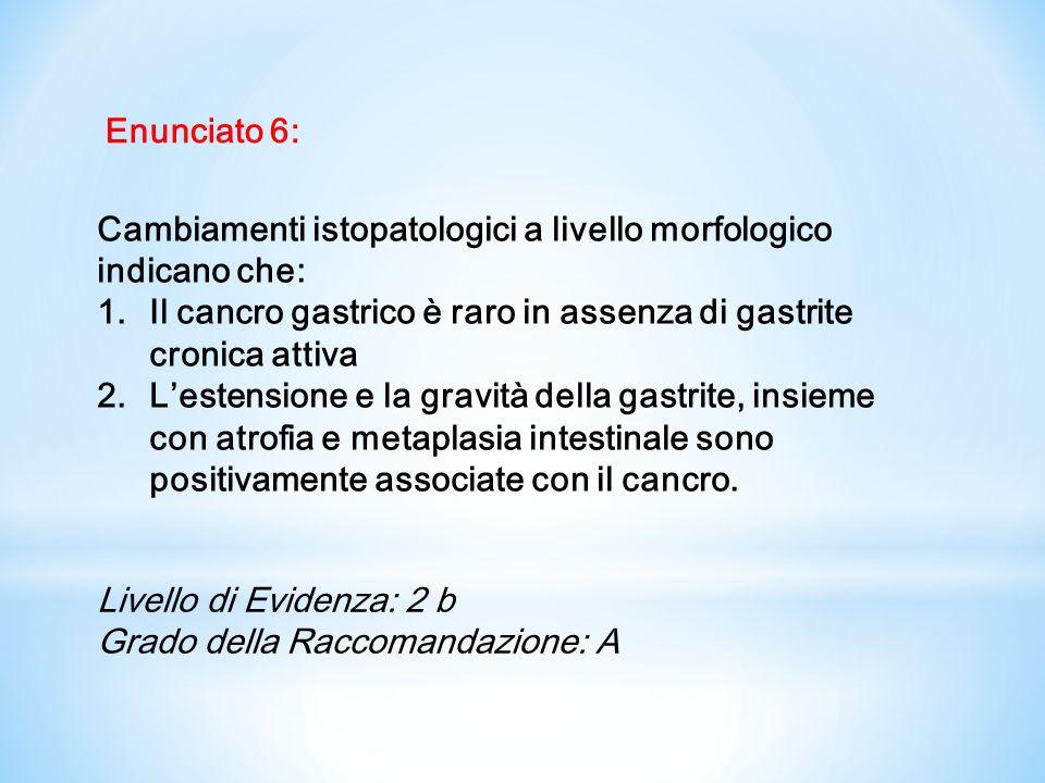 Enunciato 6: Cambiamenti istopatologici a livello morfologico indicano che: Il cancro gastrico è raro in assenza di gastrite cronica attiva.
