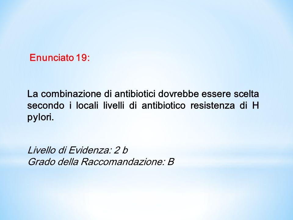 Enunciato 19: La combinazione di antibiotici dovrebbe essere scelta secondo i locali livelli di antibiotico resistenza di H pylori.
