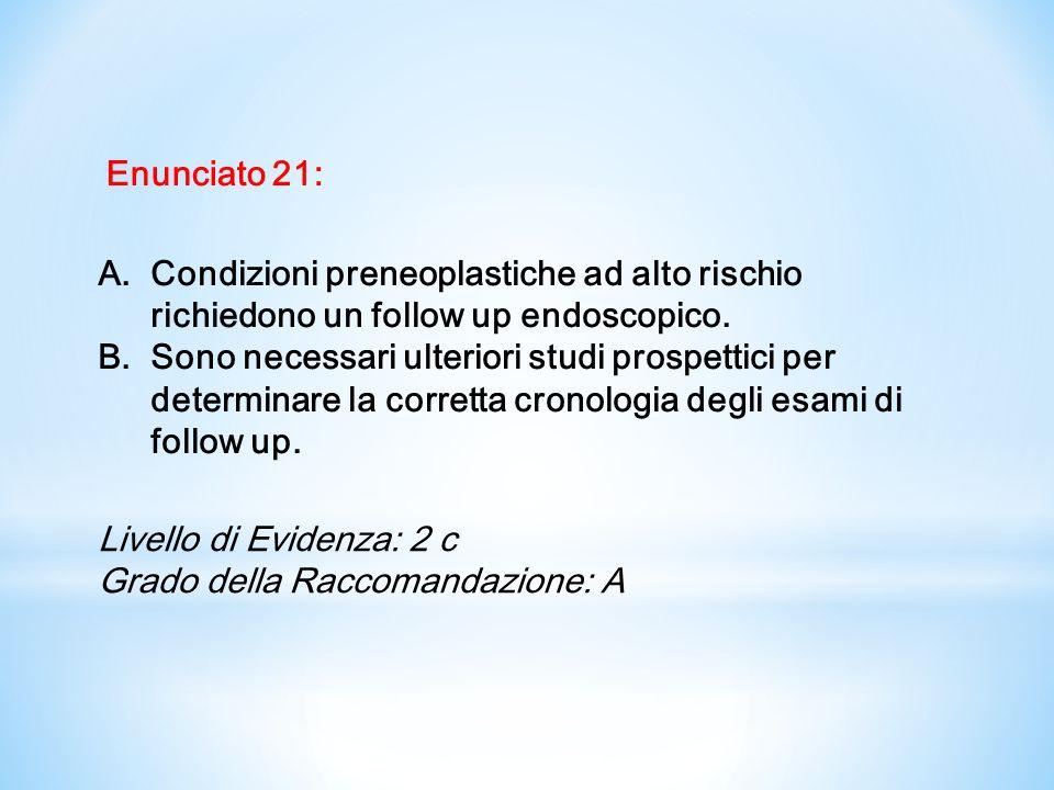 Enunciato 21:Condizioni preneoplastiche ad alto rischio richiedono un follow up endoscopico.