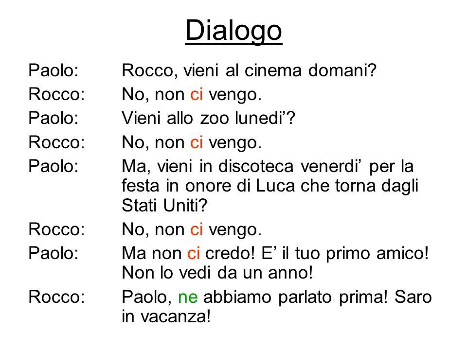 Dialogo Paolo: Rocco, vieni al cinema domani Rocco: No, non ci vengo.