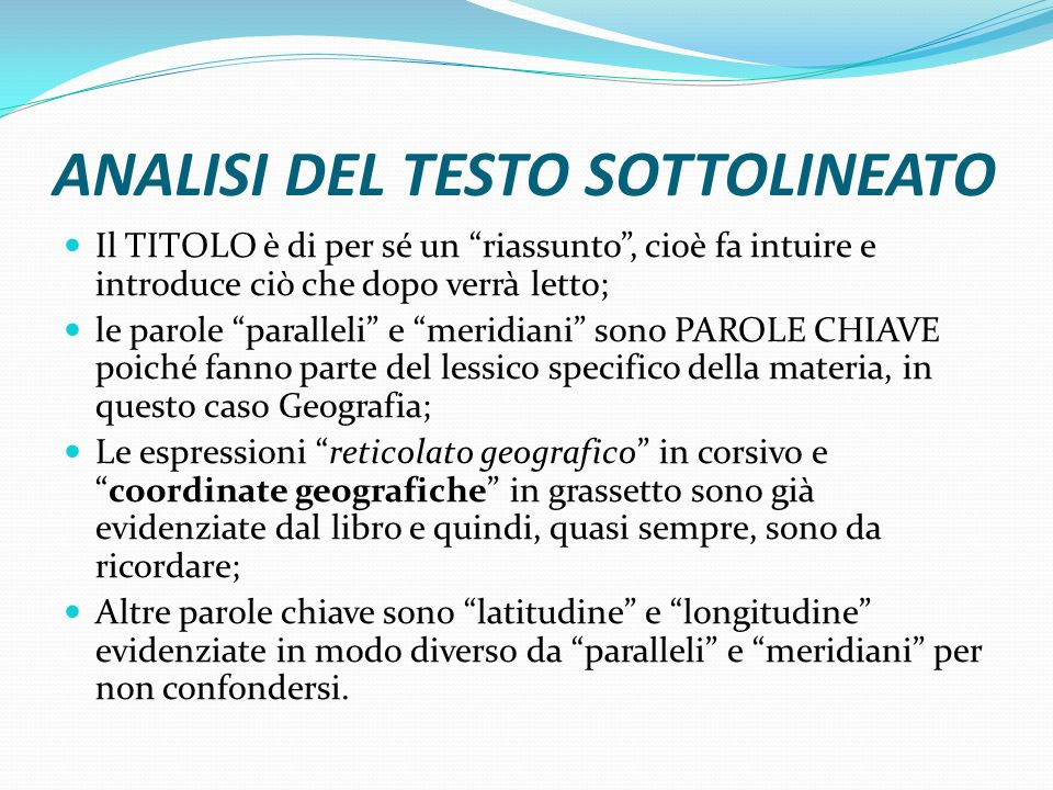 ANALISI DEL TESTO SOTTOLINEATO