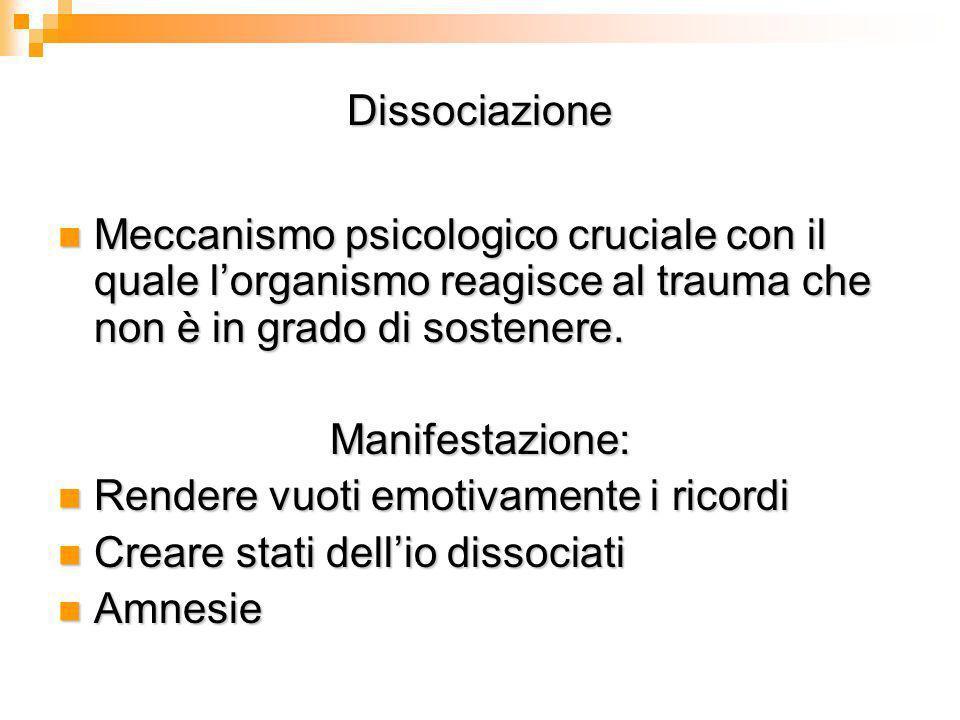 Dissociazione Meccanismo psicologico cruciale con il quale l'organismo reagisce al trauma che non è in grado di sostenere.