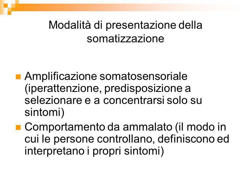 Modalità di presentazione della somatizzazione