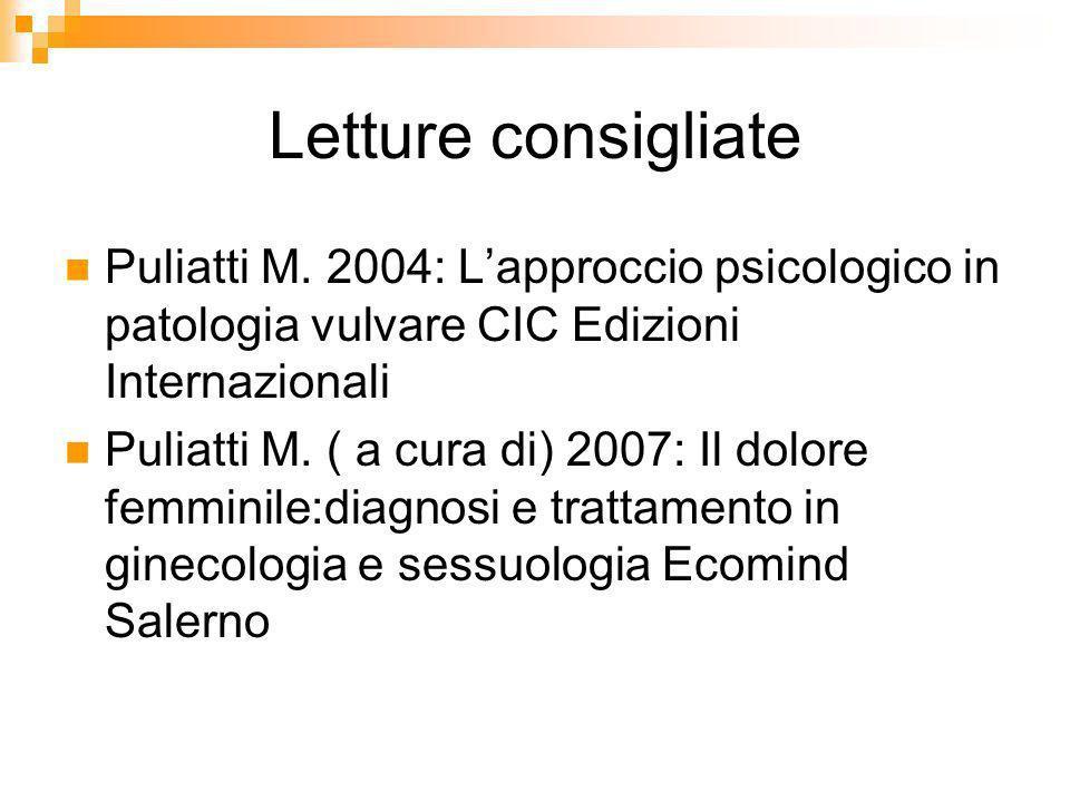 Letture consigliatePuliatti M. 2004: L'approccio psicologico in patologia vulvare CIC Edizioni Internazionali.