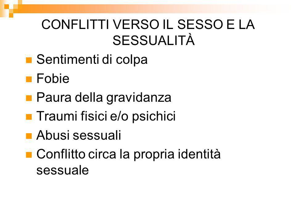 CONFLITTI VERSO IL SESSO E LA SESSUALITÀ