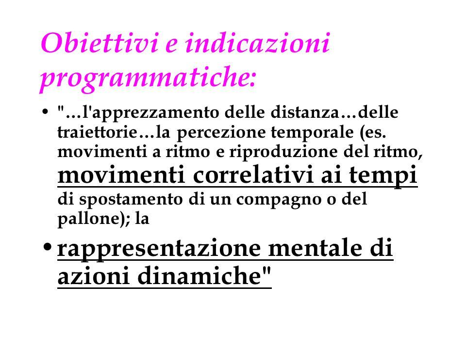 Obiettivi e indicazioni programmatiche:
