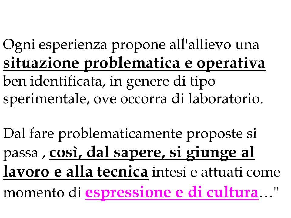 Ogni esperienza propone all allievo una situazione problematica e operativa ben identificata, in genere di tipo sperimentale, ove occorra di laboratorio.