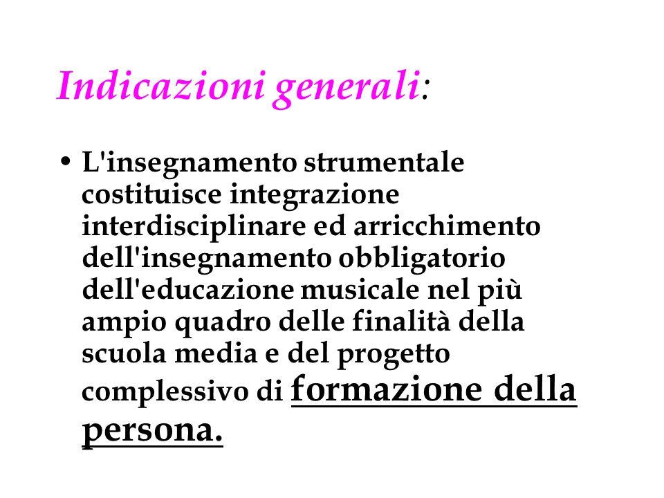 Indicazioni generali: