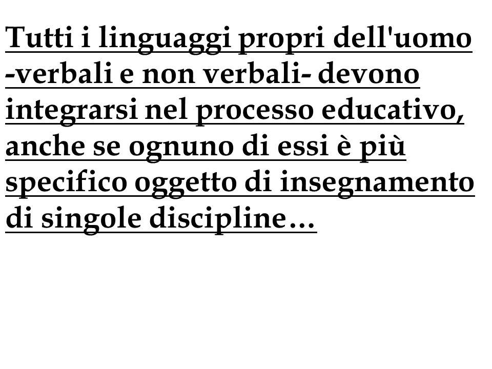 Tutti i linguaggi propri dell uomo -verbali e non verbali- devono integrarsi nel processo educativo, anche se ognuno di essi è più specifico oggetto di insegnamento di singole discipline…