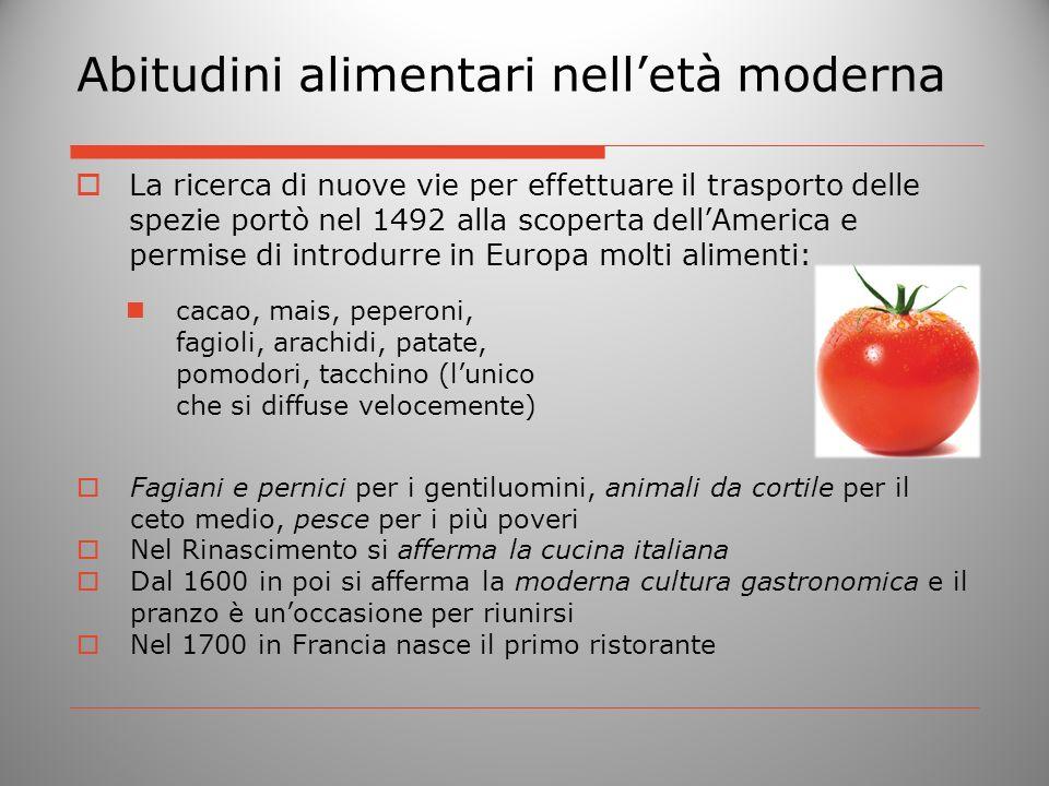 Abitudini alimentari nell'età moderna