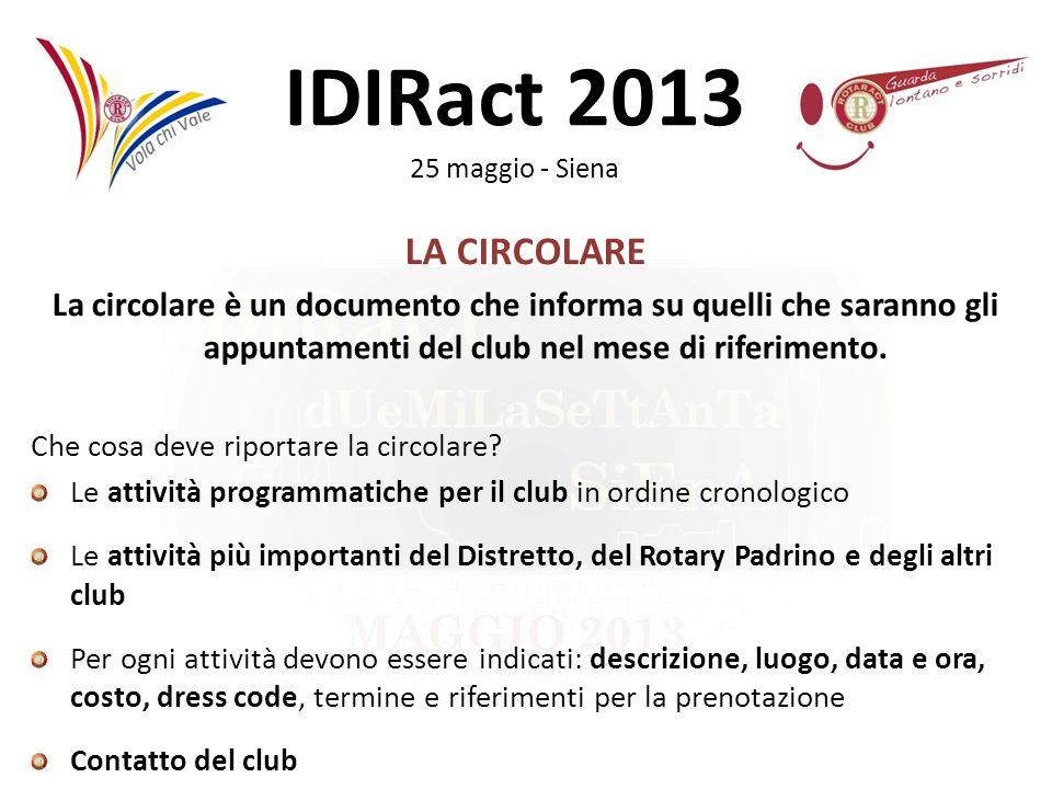 LA CIRCOLARELa circolare è un documento che informa su quelli che saranno gli appuntamenti del club nel mese di riferimento.