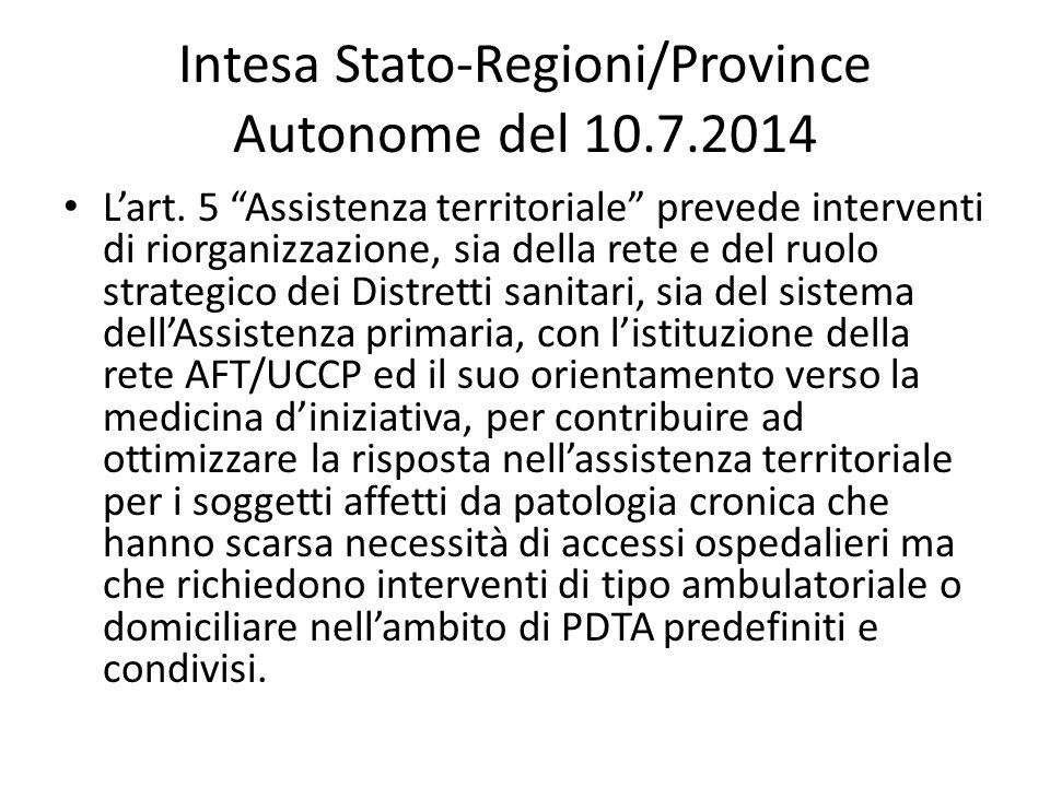 Intesa Stato-Regioni/Province Autonome del 10.7.2014