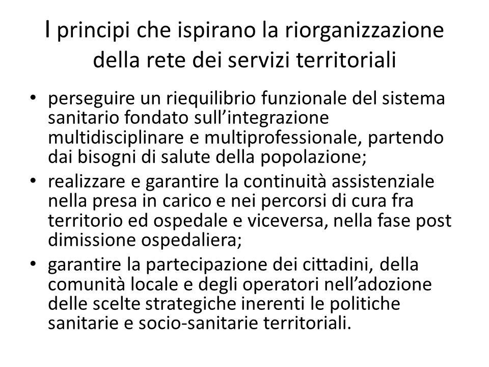 I principi che ispirano la riorganizzazione della rete dei servizi territoriali