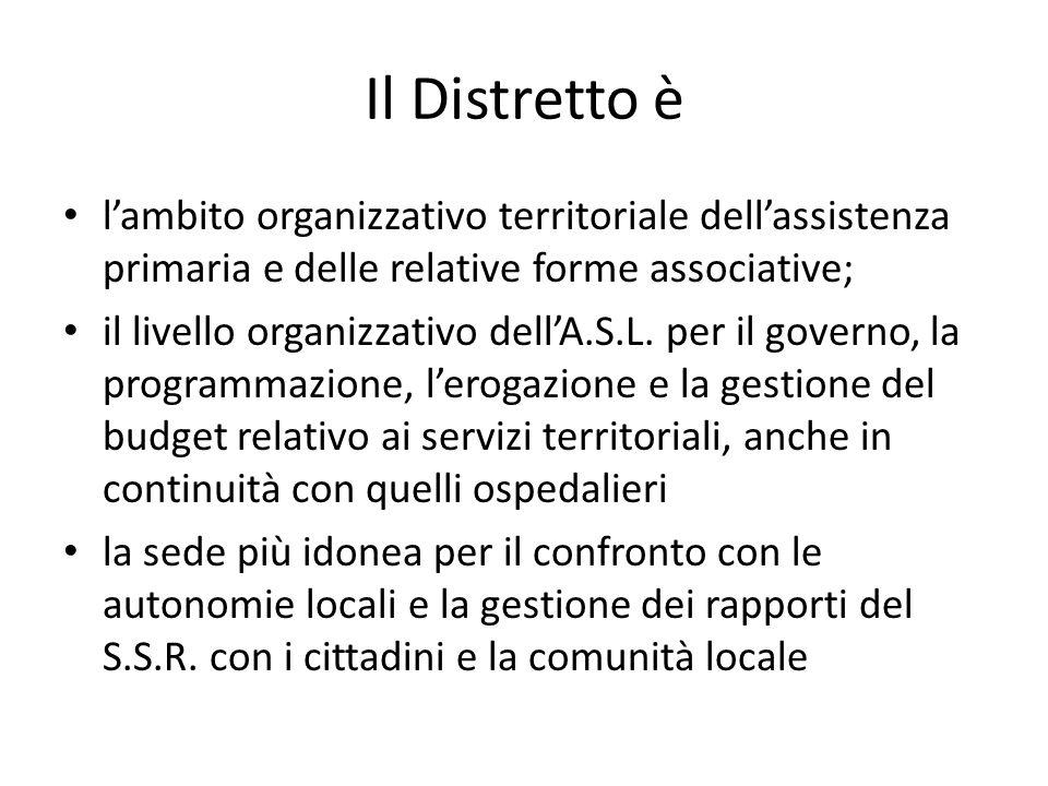 Il Distretto è l'ambito organizzativo territoriale dell'assistenza primaria e delle relative forme associative;