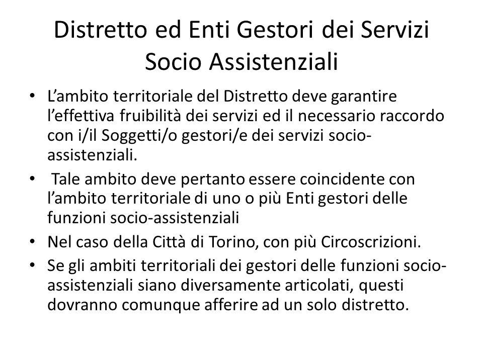Distretto ed Enti Gestori dei Servizi Socio Assistenziali