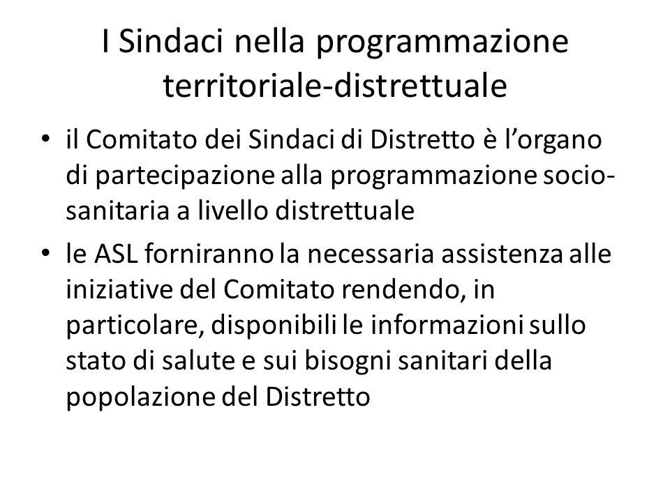 I Sindaci nella programmazione territoriale-distrettuale
