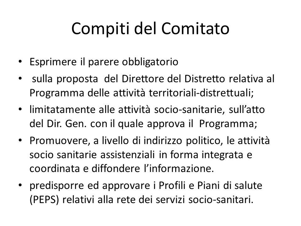 Compiti del Comitato Esprimere il parere obbligatorio