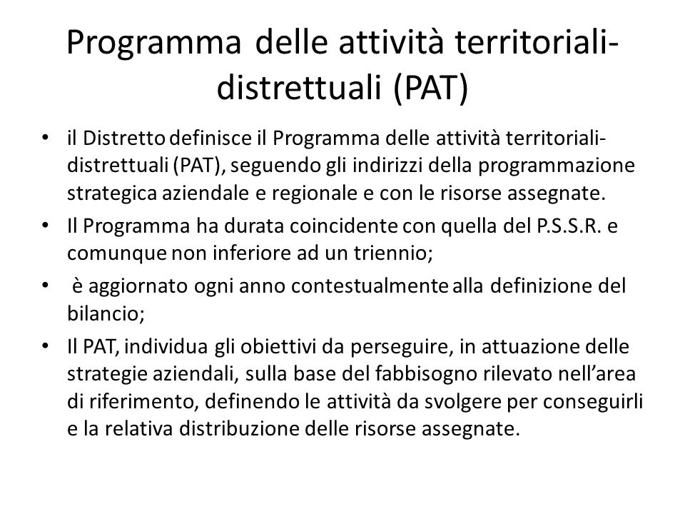 Programma delle attività territoriali-distrettuali (PAT)