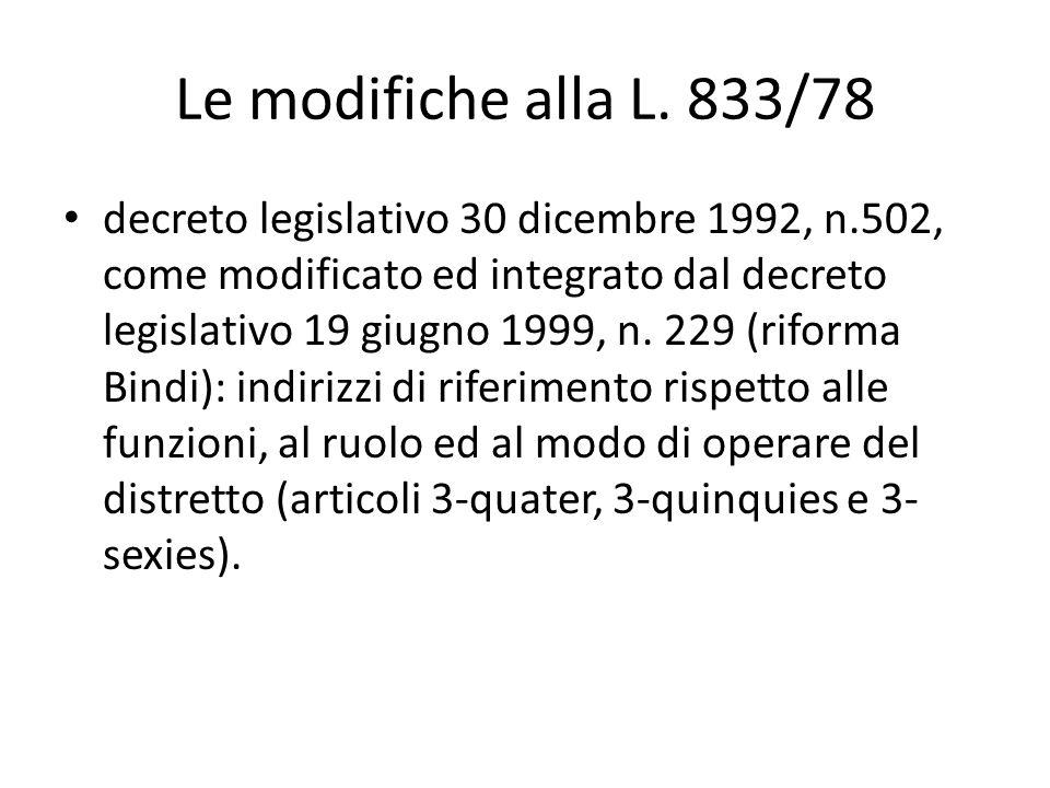 Le modifiche alla L. 833/78