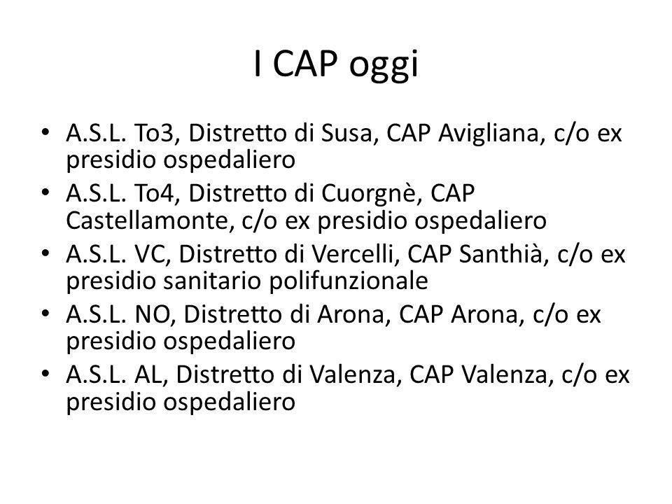 I CAP oggi A.S.L. To3, Distretto di Susa, CAP Avigliana, c/o ex presidio ospedaliero.