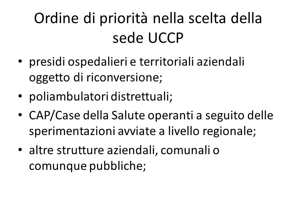 Ordine di priorità nella scelta della sede UCCP