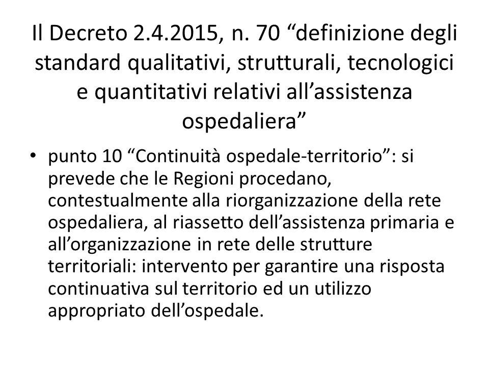 Il Decreto 2.4.2015, n. 70 definizione degli standard qualitativi, strutturali, tecnologici e quantitativi relativi all'assistenza ospedaliera