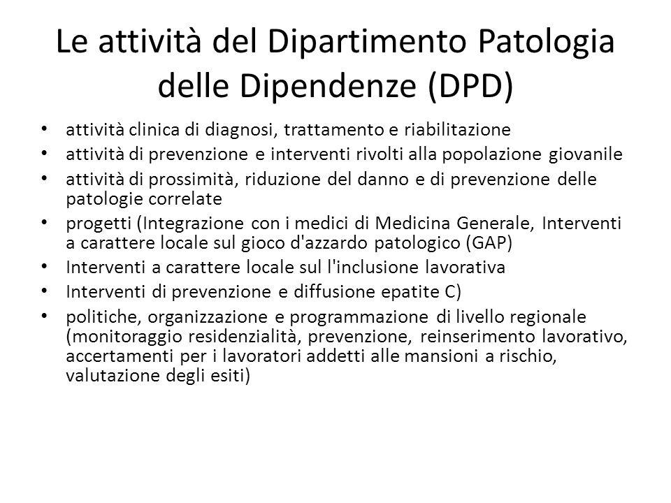 Le attività del Dipartimento Patologia delle Dipendenze (DPD)