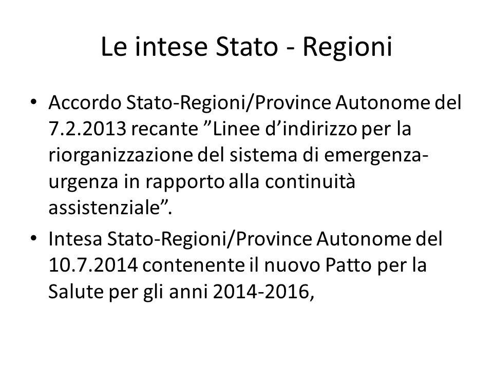 Le intese Stato - Regioni