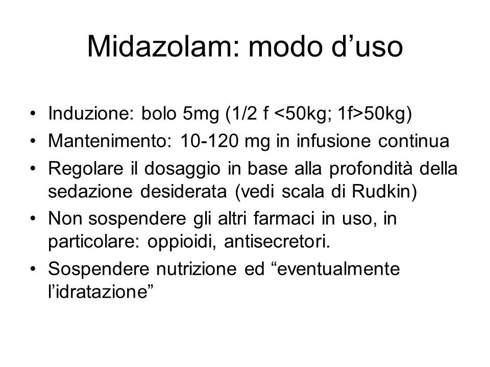 Midazolam: modo d'uso Induzione: bolo 5mg (1/2 f <50kg; 1f>50kg)