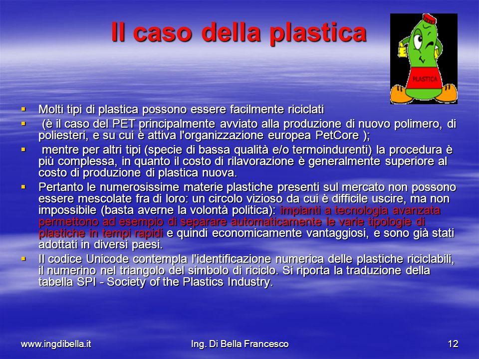 Il caso della plastica Molti tipi di plastica possono essere facilmente riciclati.
