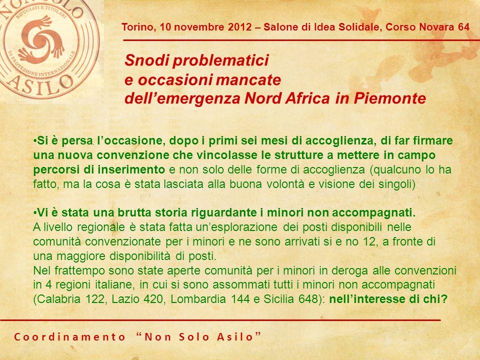 dell'emergenza Nord Africa in Piemonte