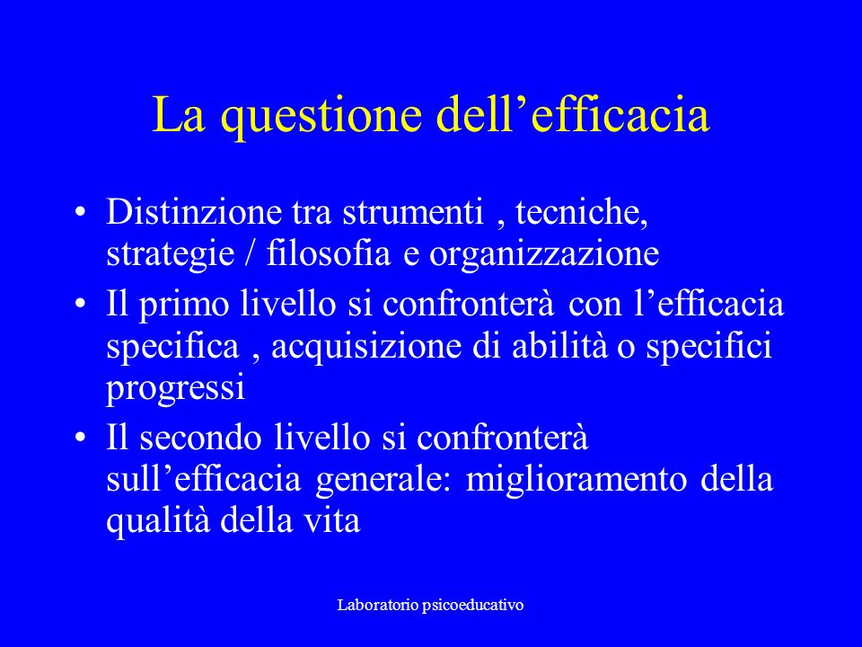 La questione dell'efficacia