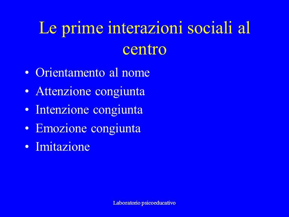 Le prime interazioni sociali al centro