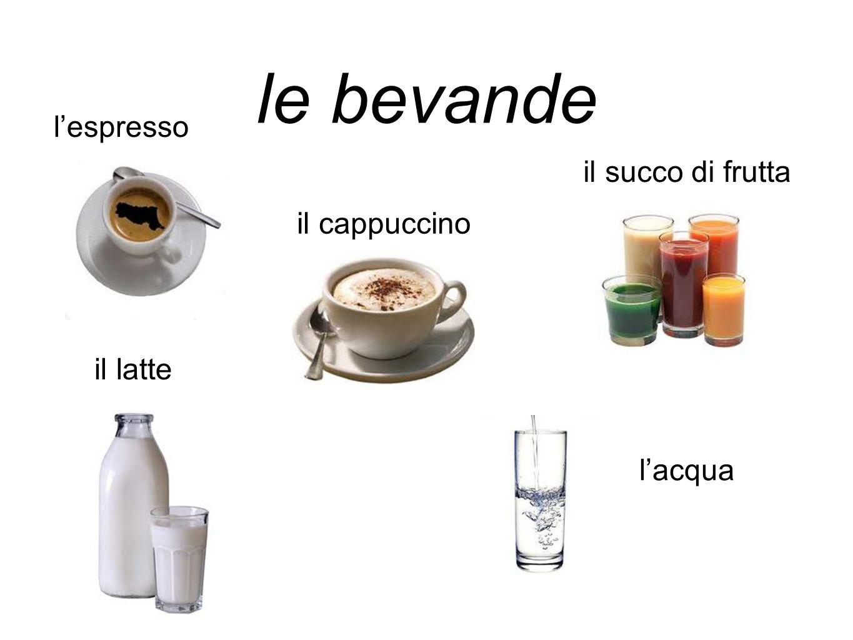 le bevande l'espresso il succo di frutta il cappuccino il latte